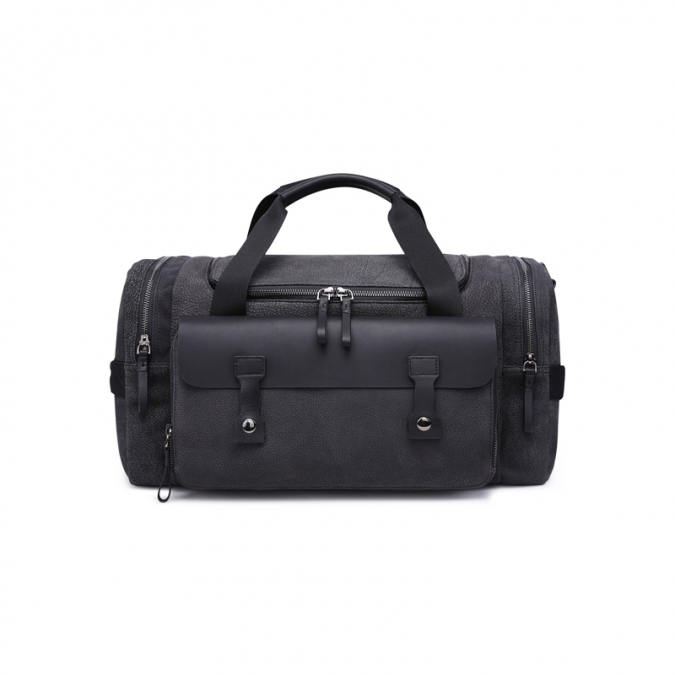 Men's Black Genuine Leather Duffel Bags